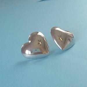 Medium Sized Heart Shaped Silver Studs